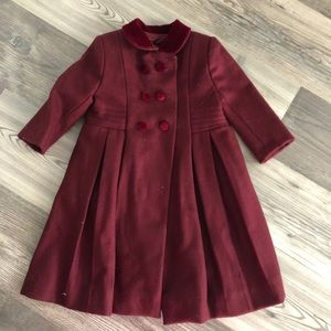 Isabel Garreton Red Wool Double Breasted Coat 2T